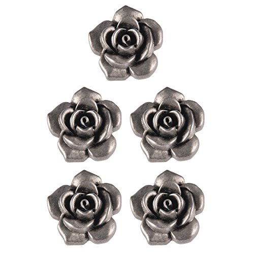 Mibo ABS Metal Plated Shank Button 3D Rose Flower Shape 48 Line MatteAntique Silver 5 Pack ()