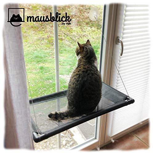 riijk Fenster Katzenhängematte für Katzen bis 23 kg | extra Stabiler Fensterliegeplatz für Katzen | Katzen Fensterliege…