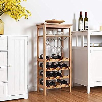 21 Wine Bottles Stainless Steel Finish Rack Holder Free Standing Floor Shelf