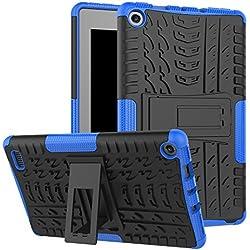 Fire 7 2017 Case, Amazon Fire 7 Case, NOKEA Hybrid Heavy Duty Armor Protection Cover [Anti Slip] [Built-In Kickstand] Skin Case For Amazon Fire 7 7th Generation 2017Release Tablet (Black Blue)