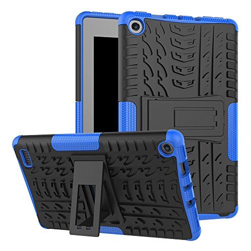Maomi-Amazon-Fire-7-2017-release-CaseKickstand-FeatureShock-AbsorptionHigh-Impact-Resistant-Heavy-Duty-Armor-Defender-Case-For-Amazon-Fire-7-Inch-2017-Tablet-Blue