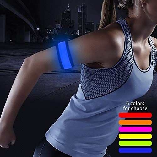 (Higo LED Armband, Glowing Slap Bracelets for Boys& Girls, Light Up Event Wristbands for Running, Cycling, Jogging, Hiking, Dog Walking (Blue 35cm))