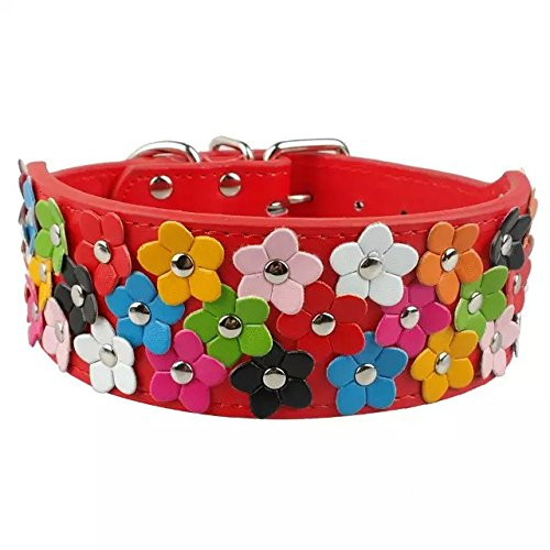 "Beirui PU Leather Flower Dog Collars for Medium and Large Dogs 19""-22"" neck - Designer Diamante Pink Flower"