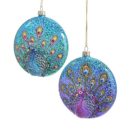 Kurt Adler GLASS PEACOCK FLAT DISC ORNAMENT 2A