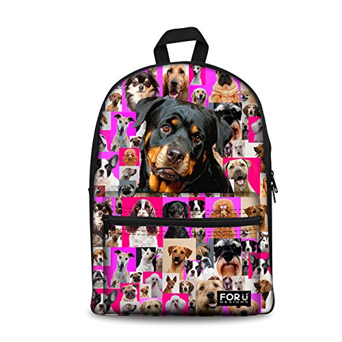 FOR U DESIGNS 15 inch School Backpack Animal Rottweiler Book Bags for Girls