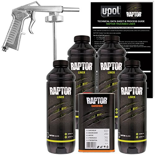 (U-Pol Raptor Black Urethane Spray-On Truck Bed Liner Kit w/Free Spray Gun, 4)