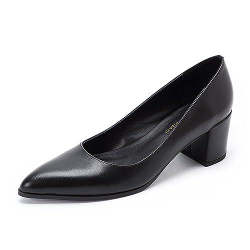 Womens Mid Block Heel Black Pointed Toe Pumps Shoes Ladies Slip on Office  Work Evening Leather 9c50af9beedb