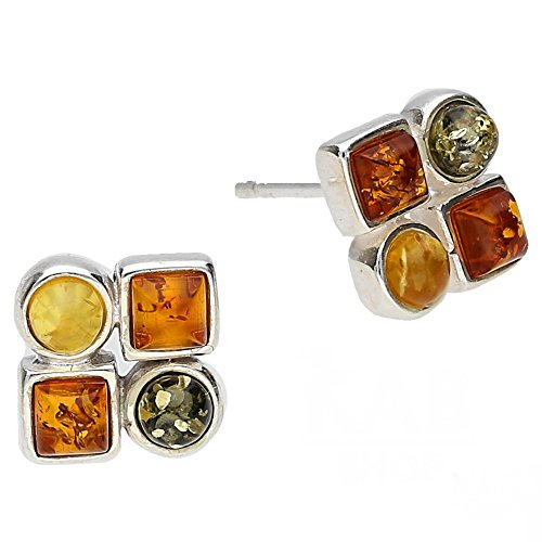 MIX BALTIC AMBER & STERLING SILVER 925 JEWELRY EARRINGS STUD, (Amber Earrings Mix)
