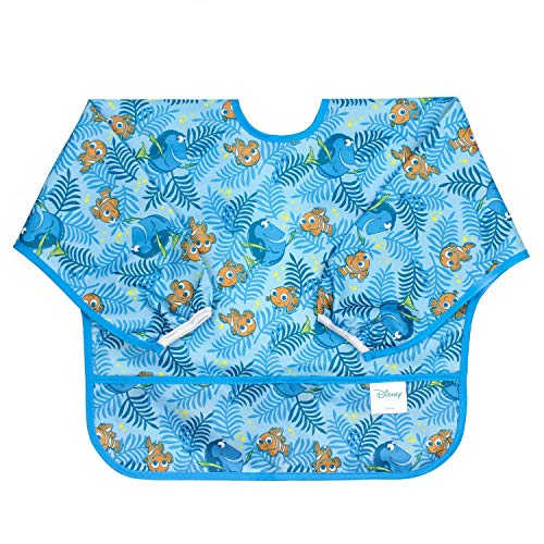 (Disney Finding NEMO Sleeved Bib / Baby Bib / Toddler Bib / Smock, Waterproof, Washable, Stain and Odor Resistant, 6-24)