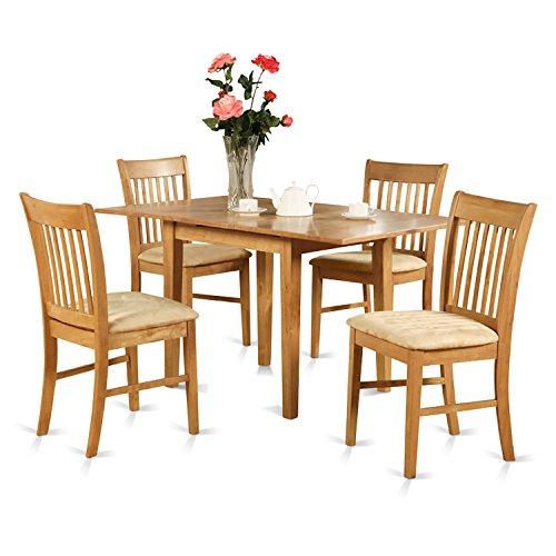 East West Furniture NOFK7-OAK-C 7-Piece Dinette Table Set, Oak Finish ()