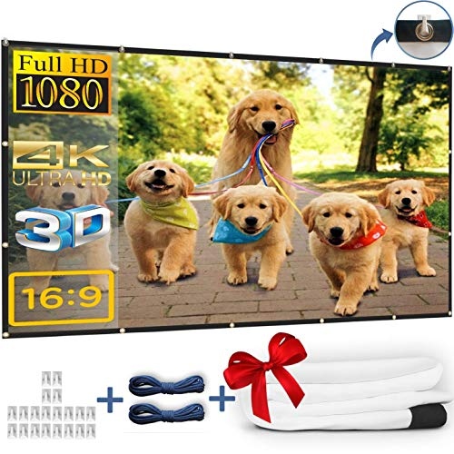 Kandoona 120 Inch Projector Screen HD Wrinkle Free 16:9 Portable Movie Screen with Hanging Holes Indoor Outdoor Projection Screen (Easy to Clean, 1.1 Gain, Carry Bag, 160° Viewing Angle, USA Seller)
