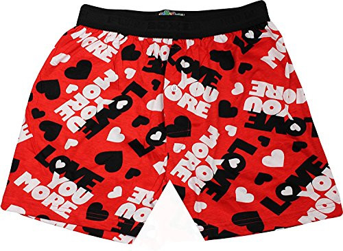 Fun Boxers Mens Fun Prints Boxer Shorts, Love You More, X-Large