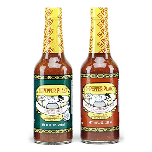 The Pepper Plant Hot Sauce Variety Pack, Original & Chunky Garlic, 10oz Each (Pack of ()