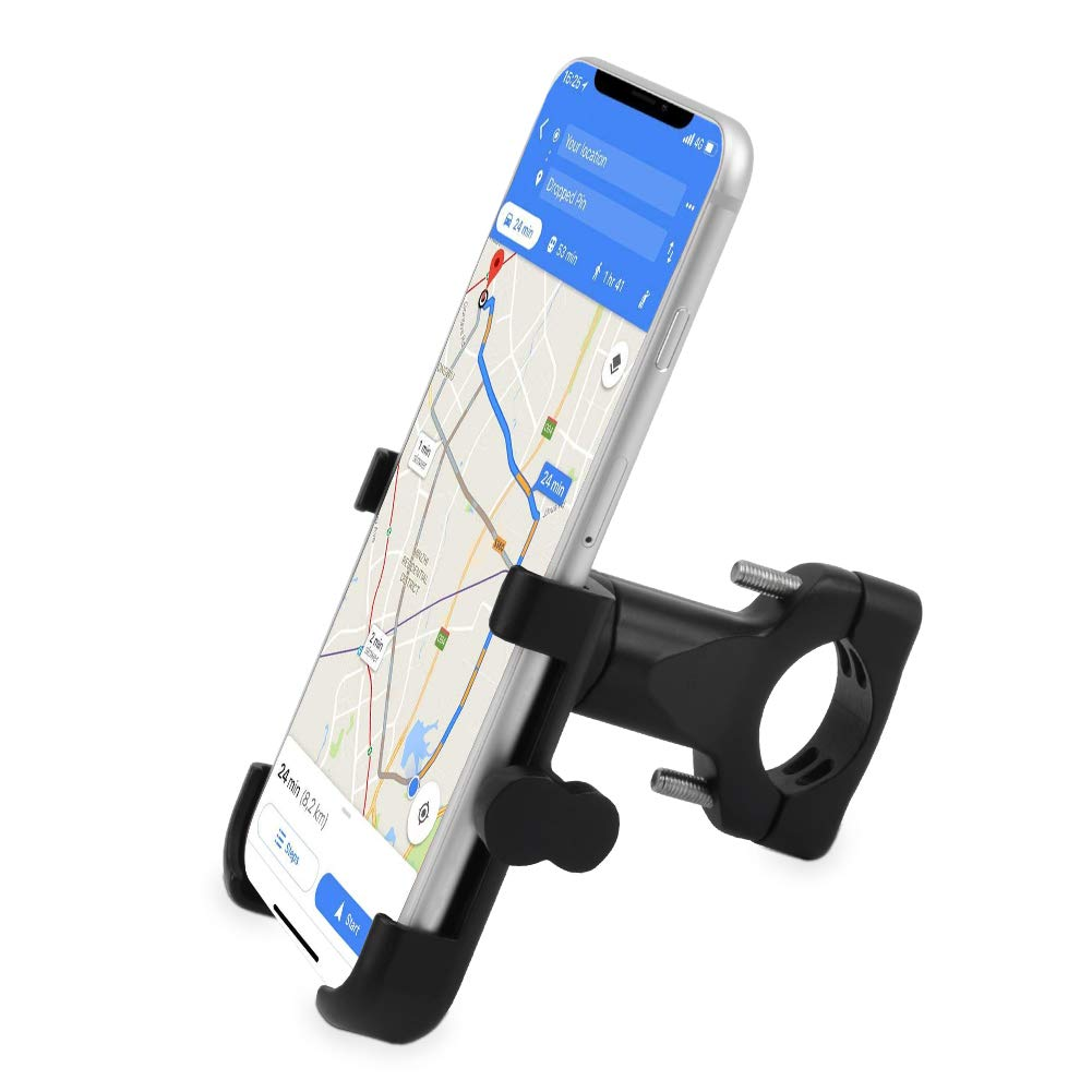 Bike Phone Mount Universal Bicycle Cell Phone Holder Alumium Alloy Bike Handlebar Motorcycle Rack Cradle Clamp with 360 Degree Rotation for Smart Phone GPS