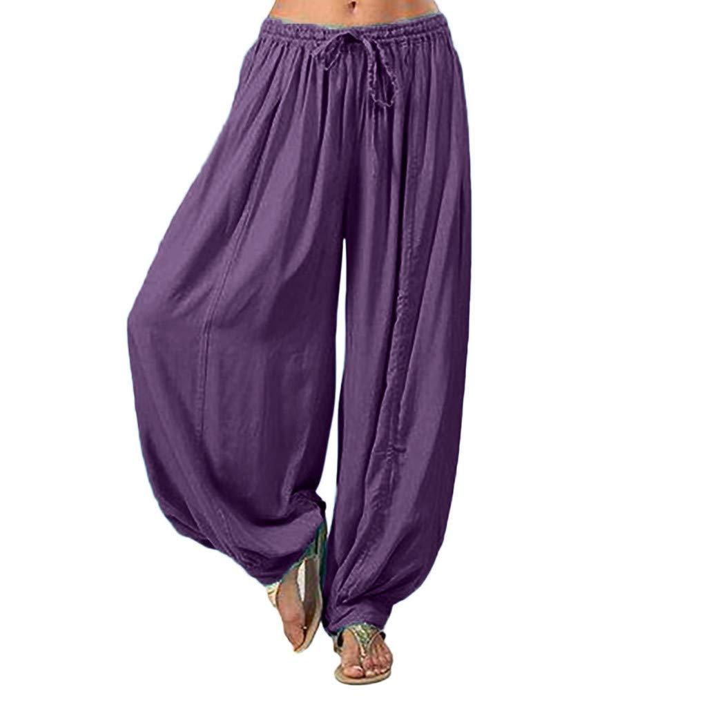 Women Summer Loose Trousers, Lady Casual Plus Size Yoga Pants Solid Color Harem Pants Cotton and Linen Pants Clearance