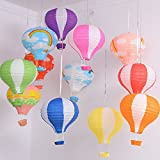 1pcs (12inch), Blue&White Paper Lantern Hot Air Balloon Sky Lanterns Decoration