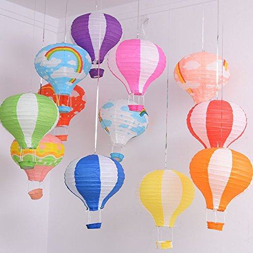 1pcs (12inch), Blue&White Paper Lantern Hot Air Balloon Sky Lanterns Decoration