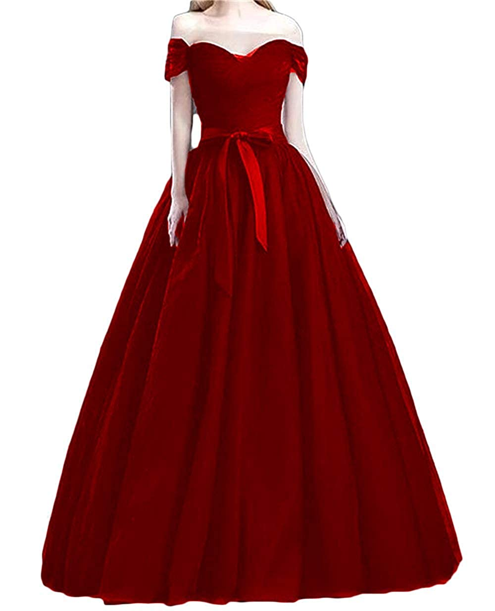 Burgundy XKYU Women's Off The Shoulder Prom Evening Party Dresses Tulle Long Formal Ball Gowns