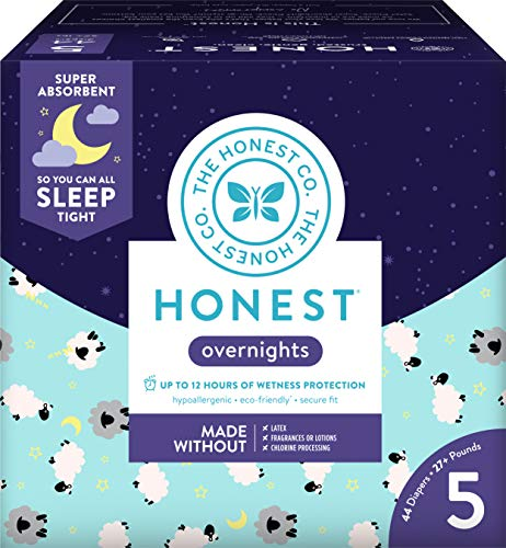 Honest Overnight Baby Diapers, Club Box, Sleepy Sheep, Size 5, 44 ()