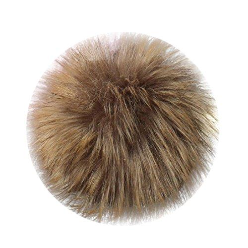 PrettyW Cute Pompom Ball, DIY Faux Fox Fur Fluffy Pompom Ball For Hat Keychain (Khaki) - Ball And Chain Hat