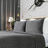 Elegant Life Reversible Royal Cotton Velvet Pic-Stitch Bedding Quilt - Queen - 88'' x 92'', Gray