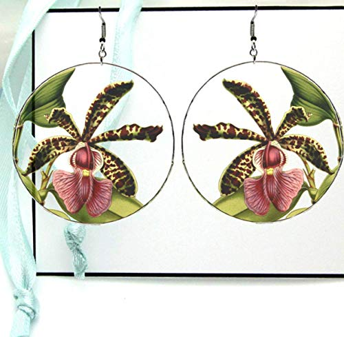 Spotted Orchid Hoop Earrings, Organic Plant Reverse Photo Resin Image Print, Silver X Large with Ear ()