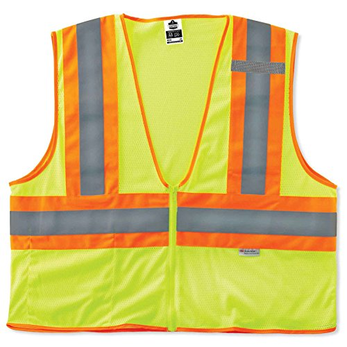 Ergodyne GloWear 8230Z ANSI Two-Tone High Visibility Lime Reflective Safety Vest, Large/X-Large ()