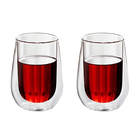vidrios de doble pared, taza de cristal de pared doble fuerte aislada taza de té