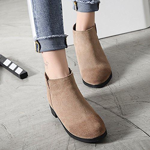 de botas botas piel de botas Plus terciopelo Wild 2018 de para mujer Martin británico grande nbsp;nuevo estilo Caqui individual botas tamaño wXFTvI