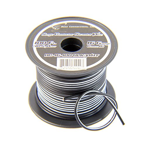 Blk Cables General (16 Gauge 100FT Stranded Hook Up Wire Black w/White Stripe Boat AV Application)