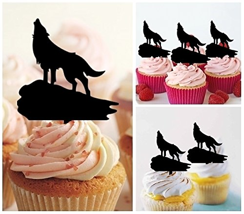 TA0136 Wolf Howling Silhouette Party Wedding Birthday Acrylic Cupcake Toppers Decor 10 pcs