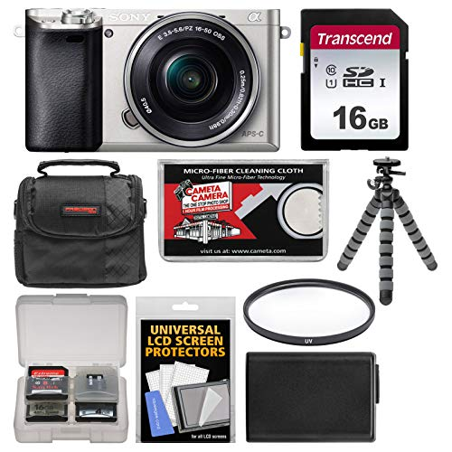 Sony Alpha A6000 Wi-Fi Digital Camera & 16-50mm Lens (Silver) with 16GB Card + Case + Battery + Flex Tripod + Filter Kit For Sale