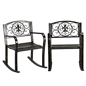 5. Topeakmart Set of 2 Porch Rocking Chair Sturdy Patio Metal Porch Rocker