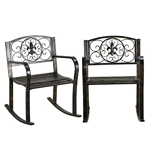 Topeakmart Set of 2 Porch Rocking Chair Sturdy Patio Metal Porch Rocker Porch Seat Deck Outdoor Backyard Glider Rocker in Bronze