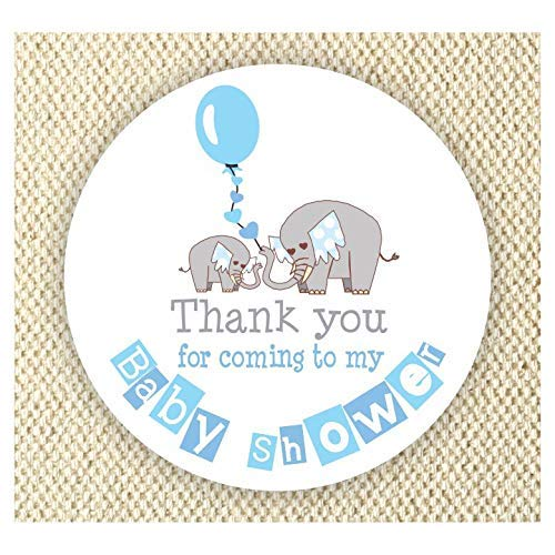Elephant Baby Shower Thank You Stickers - Boys Baby Shower Labels - Thank You Coming to my Baby Shower stickers - Labels set of 40 from Philly Art & Crafts
