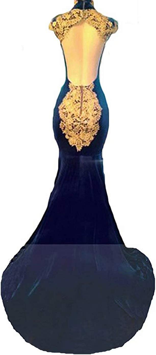 Womens Velvet Mermaid Maternity Dresses for Baby Shower Backless Beaded Evening Ball Gowns with Gold Appliques