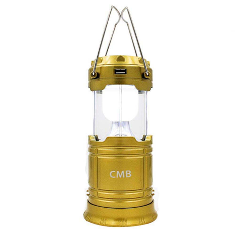 CMB 2-in-1 Rechargeable Camping Lantern Solar Flashlight Emergency Lantern with USB Power Bank (Gold) by CMB
