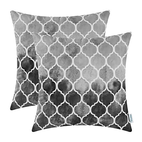 (CaliTime Pack of 2 Cozy Throw Pillow Cases Covers for Couch Bed Sofa Manual Hand Painted Colorful Geometric Trellis Chain Print 18 X 18 Inches Main Gray Grey Carbon)