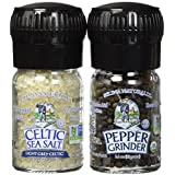 Celtic Sea Salt Organic Peppercorn and Light Grey Celtic Sea Salt Mini Grinders, 2.9 Ounces – Reusable, Refillable Glass Grinders with Additive-Free, Delicious Sea Salt and Peppercorn