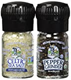 Celtic Sea Salt Organic Peppercorn and Light Grey Celtic Sea Salt Mini Grinders, 2.9 Ounces - Reusable, Refillable Glass Grinders with Additive-Free, Delicious Sea Salt and Peppercorn