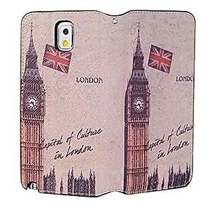 ZXM- El big ben patrón de cuero del caso del cuerpo completo británico con ranura para tarjeta para Samsung Galaxy Note N9000 3