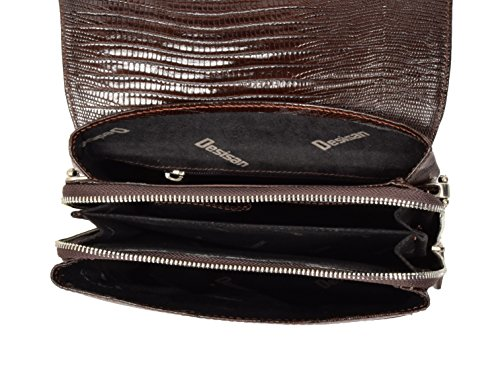 Echte Braun Leder Umhängetasche ipad Tablet Schlangen-Print Schulter-Organizer-Tasche - A623 yYdsKok