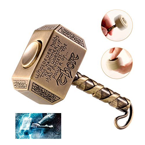 MAYBO SPORTS Wiitin Thor's Battle Hammer Fidget Hand Spinner Made by Metal, the Mighty Mjolnir Keychain Toy - Antique Brass Power Steel Bearings