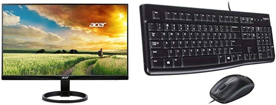 Acer R240HY bidx 23.8-Inch IPS HDMI DVI VGA (1920 x 1080) Widescreen Monitor, Black & Logitech Desktop MK120 Durable, Comfortable, USB Mouse and Keyboard Combo