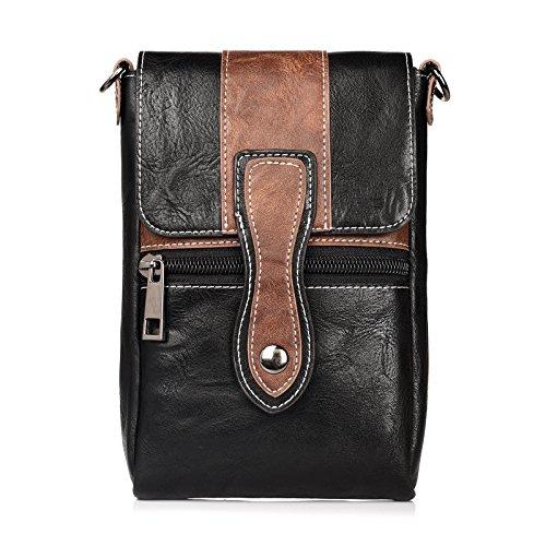 Men's Workout Zip PU Leather Belt Clip Holster Pouch Case for iPhone X/iPhone 8 Plus / 7 Plus/LG V30 / LG V20 / LG G6 / LG Stylo 3 / LG Stylus 3 / LG K20 / Google Pixel 2 XL (Brown/Black)