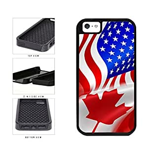 Canada and USA Mixed Flag 2-Piece Dual Layer Phone Case Back Cover Apple iPhone 5 5s