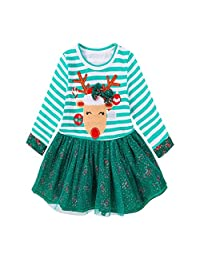 XILALU Toddler Kids Baby Girls Deer Striped Princess Dress Christmas Outfits Clothes