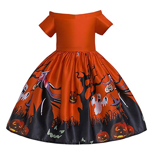 Mayunn Kids Toddler Girls Halloween Lace Off Shoulder Cartoon Princess Dress Short Sleeve Pageant Gown Party Dress (24M-9T)