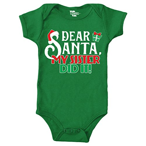 Dear Santa My Sister Did It - Christmas Bodysuit (6M, KELLY GREEN) - Tuxido Suit
