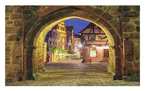 Lunarable Cityscape Doormat, Riquewihr Alsace View France Through City Wall Gate at Night Historical Town Picture, Decorative Polyester Floor Mat with Non-Skid Backing, 30